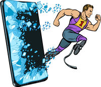 legless male athlete running with a prosthetic Phone gadget smartphone. Online Internet application service program