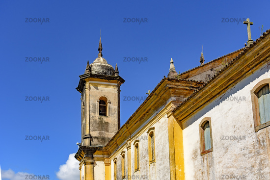 Ancient historical catholic bell church tower and facade