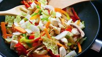 Pan of vegetable stir-fry