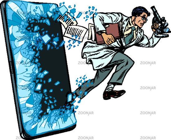 a male scientist with a microscope. Phone gadget smartphone. Online Internet application service program