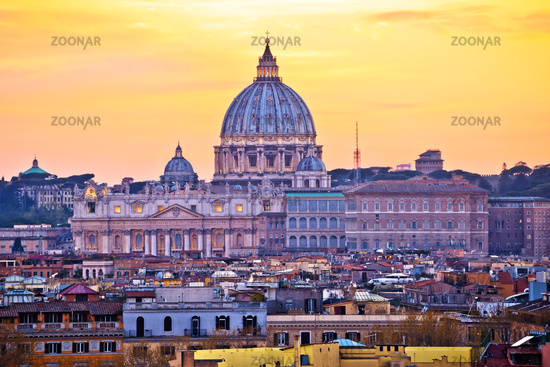 The Papal Basilica of Saint Peter in Vatican sunset view