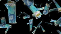 Many pound sterlings fall from above, 3d rendering. Computer generated backdrop with effect of money rain. Business success