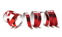 Festive red ribbon on white background. Realistic vector streamers.