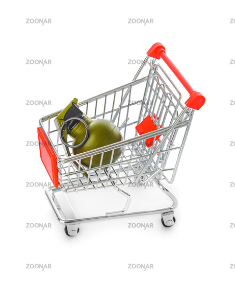 Hand grenade in shopping cart