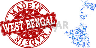 Collage Map of West Bengal State with Wheel Integration and Made In Grunge Stamp