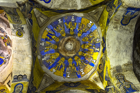 Frescos of the Centre Dome, rock-hewn church Abuna Gebre Mikael, Gheralta, Tigray, Ethiopia