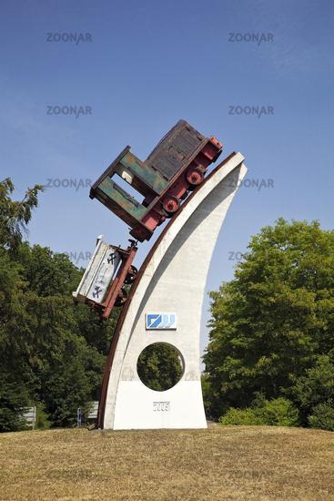 Historic locomotive as an advertisement for the mining museum, Mechernich, Eifel, Germany, Europe