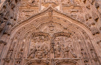 Ornate carvings at the entrance to the old Cathedral in Salamanca