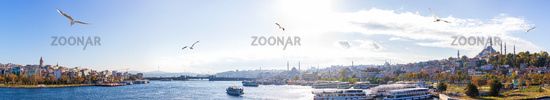 Beautiful Istanbul panorama, two shores of the Golden Horn