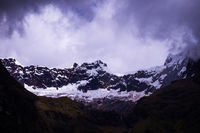 Glacier at snow covered El Altar Volcano in the Andes in Ecuador