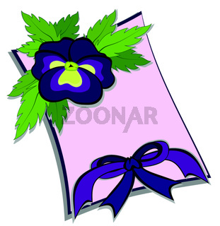 Illustration - purple pansy flower lies on a pink sheet of paper, at the bottom of the sheet is a purple bow