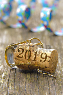 Champagnerkorken mit Jahreszahl 2019