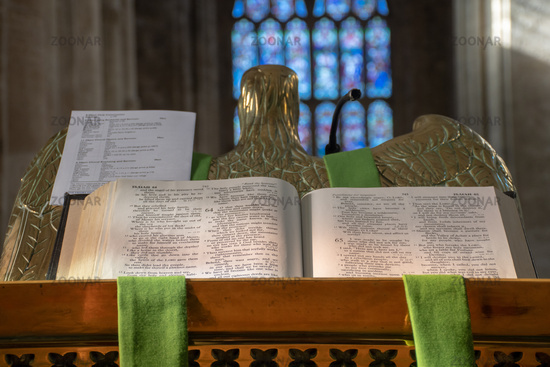 Open bible from pulpit in church