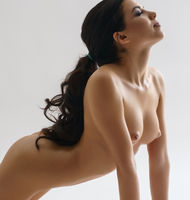 Long haired brunette shot naked staying on knees