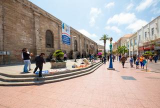 Chile La Serena street vendors near the cathedral