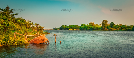 River Kwai at sunset time, Kanchanaburi, Thailand. Panorama