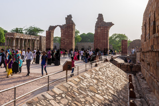 Qutb Minar Complex with side ruins and inner square. UNESCO World Heritage in Mehrauli, Delhi, India, Asia.