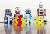 retro robots and the word FRIENDS