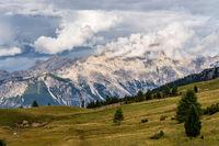 Passo Falzarego at sunny autumn day. Dolomite Alps, Italy