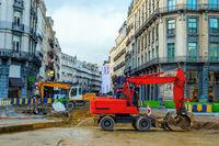 Cityscape, excavators, renovation, street, Brussels