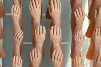 exhibition man`s and women`s silicone prosthesis hands