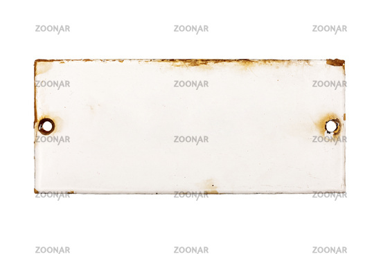 Old and rusty enameled door plate without label, isolated on white background
