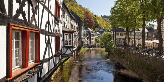 Half-timbered houses on the river Rur, Monschau, Eifelstieg, Eifel, Germany, Europe