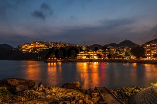 Romantic Panorama of Stanley Village, Bay and Harbour on Hongkong Island. Chek Chue, Hong Kong, China