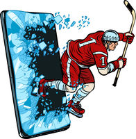 hockey player Phone gadget smartphone. Online Internet application service program