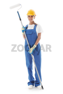Handywoman with paint roller