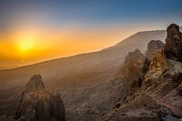 Aerial View of Landscape with Rocks in Teide National Park during Sunset, Tenerife, Spain