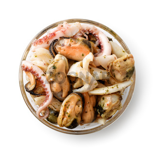 Top view of lass bowl with seafood mix