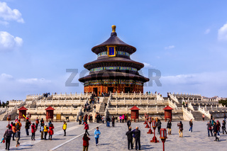 Tourists taking pictures and selfies in front of Temple of Heaven, Beijing