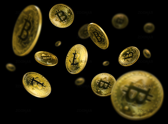 Gold Bitcoin coins flying on a black background