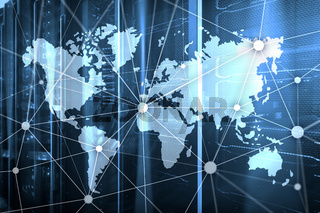World map with communication network on server room background.