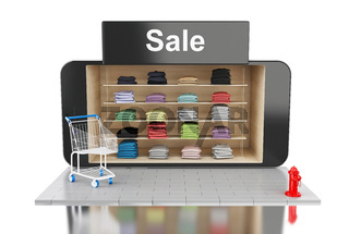 3d online mobile shopping.