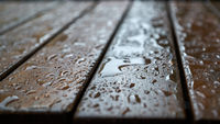 Table in front of a restaurant in downtown Prague in rainy weather