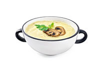 Soup-puree mushroom with champignons in bowl