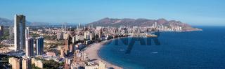 Skyline panorama of Benidorm city, Alicante province, Spain.