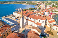 Umag. Aerial view of historic landmarks in town of Umag