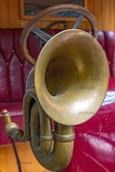 The horn on the old car. Veteran car with the classical klaxon, close up
