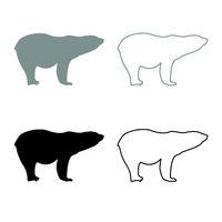 Polar bear icon outline set grey black color