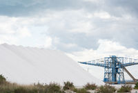heap of sea salt production lot near coast