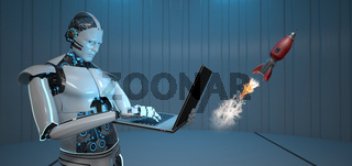 Humanoid Robot Notebook Rocket