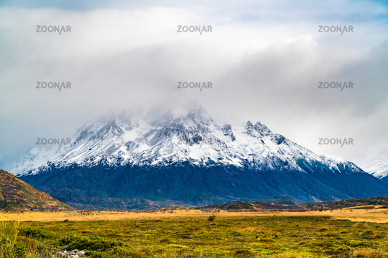 View of beautiful snow capped mountain in Torres del Paine National Park in Chilean Patagonia