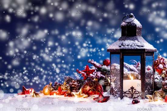 Lantern and christmas decoration