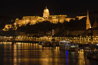 Buda Castle and Danube river at Night, Budapest, Hungary