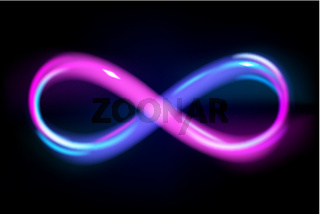Neon light blue and violet infinity symbol on black background, glowing line of eternal sign, energy, vector illustration.