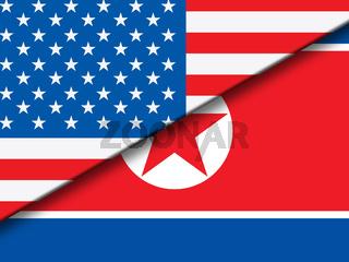 North Korea And United States Overlap Flag 3d Illustration