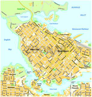 Straßenkarte vom Stadtzentrum Vancouver, British Columbia, Canada